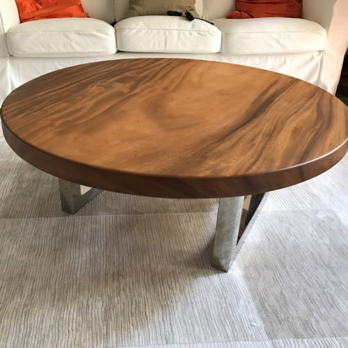 Solid Wood Coffee Table With Chrome Leg
